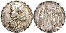 World Coins - Italian Papal States. Rome. Grégoire XVI (1831-1846), (Bartolomeo Alberto Cappellari). AR Scudo 1831. Choice XF