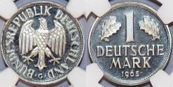 World Coins - Germany. Western Republic. CuNi  Amazing 1 Mark 1965 G. NGC PF67 Ultra Cameo!