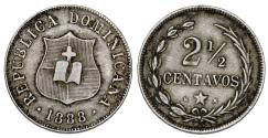 World Coins - Dominican Republic. CU-NI 2 1/2 Centavos 1888H. VF+