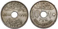 World Coins - Egypt. English Occupaiton: Hussein Kamil (1333-1336 H / 1914-1917). Ni 10 Milliemes 1916H. XF.