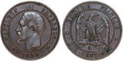 World Coins - France. Napoleon III. AE 10 Centimes 1855 B. XF