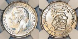 World Coins - Great Britain. King George V (1911-1935) Silver 6 Pence 1926. NGC MS65