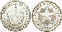 World Coins - Cuba. Republic. Silver 40 Centavos 1920. Choice AU