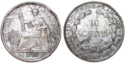 World Coins - French Indo-China. Colony Silver 10 Cents 1937 A. Choice AU
