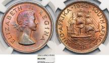 World Coins - South Africa as British Colony. Elizabeth II. BRZ 1 Penny 1954. NGC MS64 RD