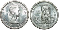 World Coins - Canada. Centennial Year. Silver 1 dollar 1958. Choice UNC.