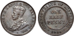 World Coins - British Commonwealth Australia. Half Penny 1936. Choice XF