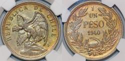 World Coins - Chile. Republic. Ni 1 Peso 1940 So. NGC AU58, golden toning