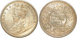 World Coins - British India. king George V (1910-1936) Silver Rupee 1921 B. Choice AU