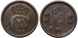 World Coins - Denmark. Christian X. Cu 2 Ore 1874. Nice XF, Rare date