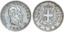 World Coins - Kingdom of Italy. Vittorio Emanuele II. AR 2 Lire 1863 M BN. VF+, toned