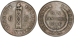 World Coins - Republic of Haiti (1804- ). CU 6 Centimes AN 43 (1846). VF.