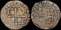 World Coins - MEXICO. Felipe II (1556-1598). Silver Cob 1 Real N.D. VF, toned