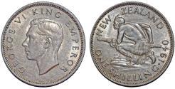 World Coins - New Zealand. George VI. AR Shilling 1940. AU