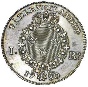 World Coins - Sweden. King Gustav III (1771-1792). Silver Thaler 1780 OL. Choice XF