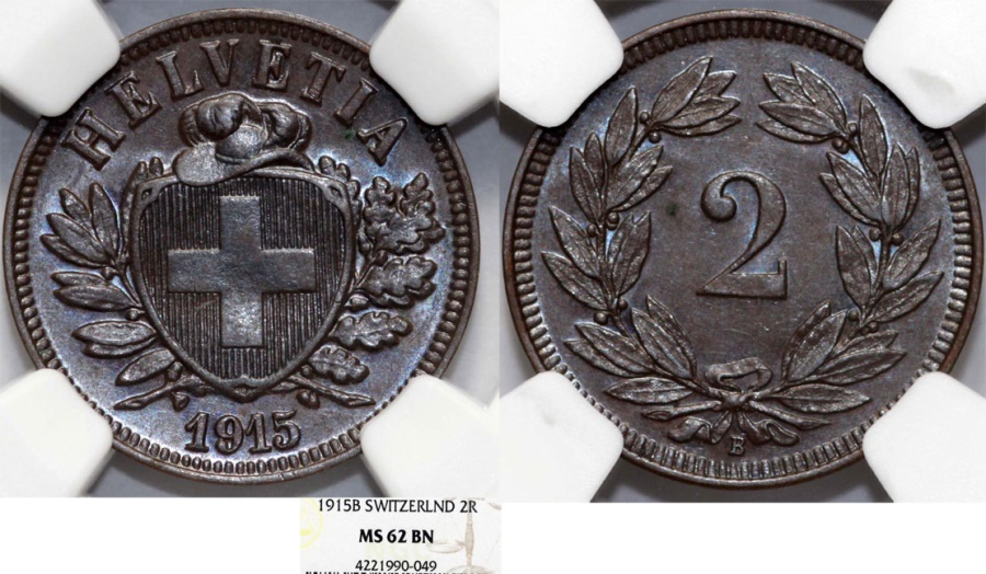 World Coins - Switzerland. Federation issue. AE 2 Rappen 1915 B. NGC MS62 BN