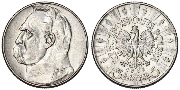 World Coins - Poland. II Republic (1918-1939). Silver 5 Zloty 1936. XF