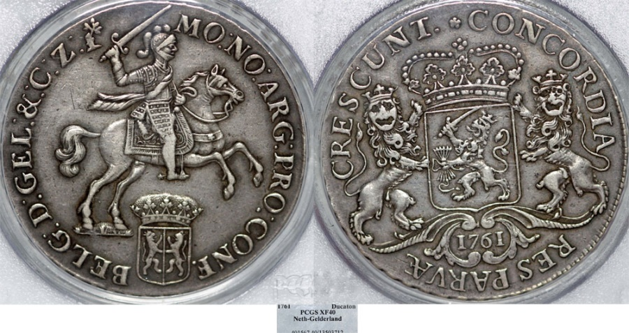 "World Coins - Netherlands. Gelderland. AR Ducatone called ""Silver Rider"" 1761. PCGS XF40, toned."