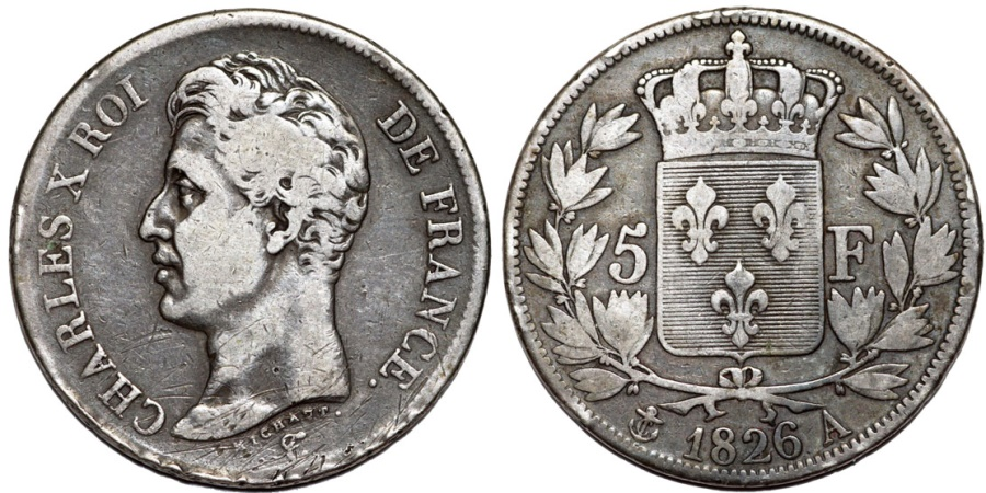 World Coins - France. king Charles X (1824-1830). AR 5 Francs 1826 A. aVF