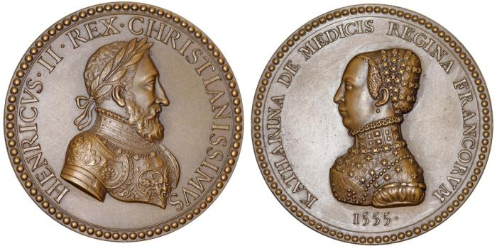World Coins - FRANCE/ITALY. Henri II and Catherine de Medici Medal 1555. Bronze Official Restrike. UNC