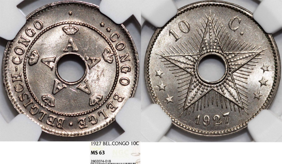 World Coins - Congo. Royal Dominion of Belgium Crown. 10 Centimes 1927. NGC MS63