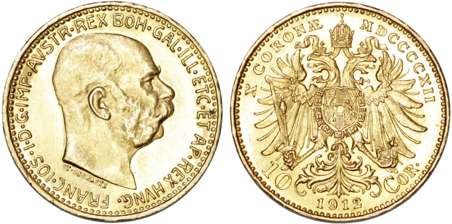 World Coins - Austria. Franz I Josef (1848-1916). Gold 10  Corona 1912. Choice UNC