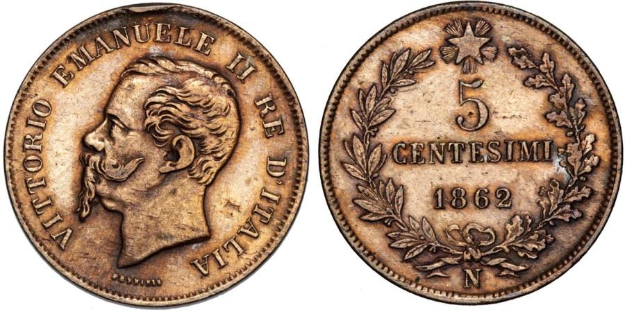 World Coins - Italy. Kingdom. Vittorio Emanuele II. CU 5 Centesimi 1862N. XF,Red