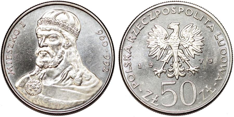 World Coins - Poland. P.R.L. 1952-1989. Ni 50 Zloty 1979. First Polish Ruler: Mieszko I. UNC