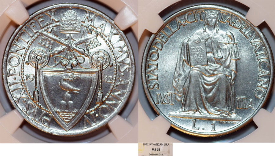 World Coins - Vatican City. Pope Pius XII (1939-1958). 1 Lira 1942 - Justice. NGC MS65.