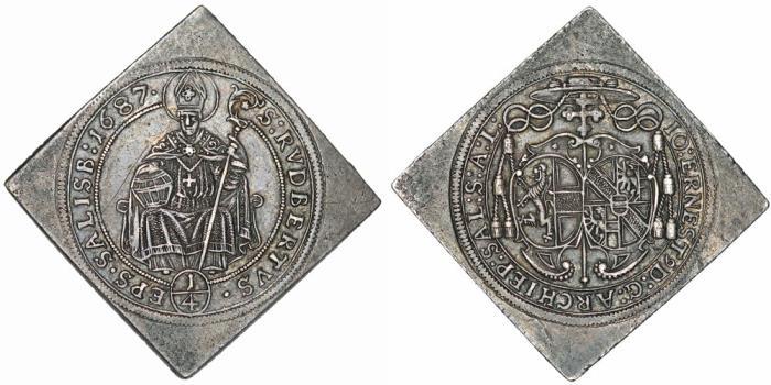 World Coins - H.R.E. Salzburg. Johann Ernst (1687-1709). AR Scarce 1/4 Klippe 1687. XF.