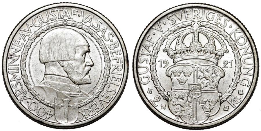 "World Coins - Sweden. Gustav V. AR 2 Kronor 1921 ""Political Liberty"". UNC"