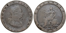 World Coins - Great Britain. George III (1760-1820). Cu Large/Thick 1 Pence 1797. Fine+