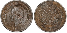 World Coins - Republic of Haiti , SINCE 1863. AE 20 Cents 1863. XF