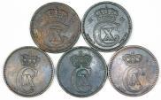 World Coins - Denmark. Lot of 5 Coins. AE 5 Ore 1874-1919. VF-XF+