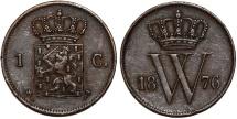 World Coins - Netherlands. William III. Cu Cent 1876 (axe). Choice VF