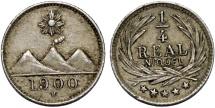 World Coins - Republic of Guatemala. CuNi 1/4 Real 1900H. AU