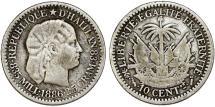 World Coins - Republic of Haiti (1863- ). AR 10 Cents AN78 (1886). Toned VF