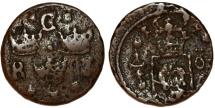 World Coins - Sweden. Queen Christina (1632-1654). Cu 1/4 Ore 1637. VG