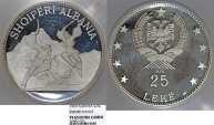 """World Coins - Albania. Republic. Proof Silver 25 Leke 1970 """"Dance with swords"""". NGC PF65 UC."""