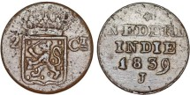 World Coins - Netherlands East Indies. Java. AE 2 Cent 1839 J. Choice VF, scarce.