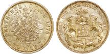 World Coins - Germany. City of Hamburg. Gold 20 Mark 1876-J. Choice AU