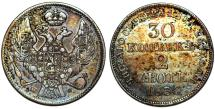 World Coins - Imperial Russia. Coinage for Poland. AR 2 Zloty - 30 Kopecks 1836 MW. Choice VF, toned