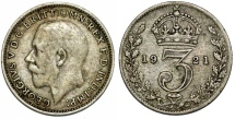 World Coins - Great Britain. King George V (1911-1935) Silver 3 Pence 1921. VF