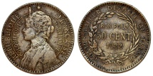 World Coins - French Colony of Martinique. CuNi 50 Centimes 1922. Toned VF, RARE!
