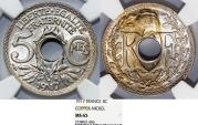 World Coins - France. Republic. NiCu 5 Centimes 1917. NGC MS65