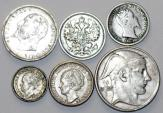 World Coins - European Lot of 6 Silver Coins. 1860-1950. aVF-UNC