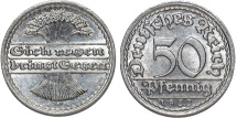 World Coins - Germany. Waimar Republic. 50 Reichspfennig 1922 F. BU