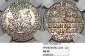 World Coins - Poland. Marienberg. Sigismund III (1587-1632). Silver 3 Groschen 1592. NGC AU58, toned