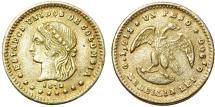 World Coins - Colombia Estados Unidos Gold Peso 1872-MEDELLIN. XF