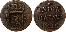 World Coins - Netherlands East Indies. Post Batavian Republic. AE 1/2 Stuiver 1825. VF